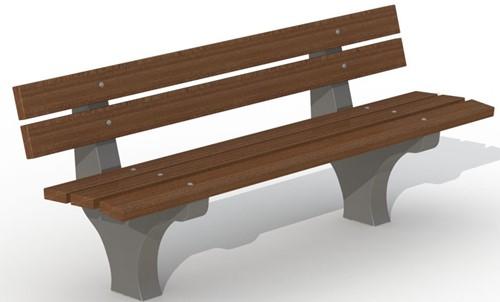 Zitbank met betonnen voet - 5 planken in hardhout